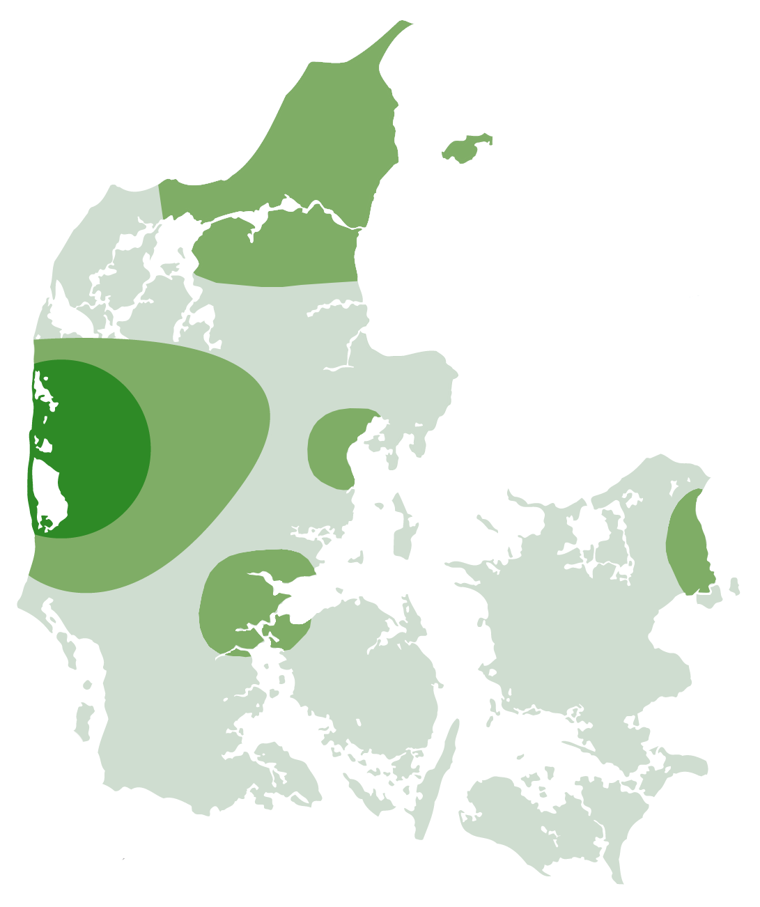 Map of Denmark with a high level of market share.